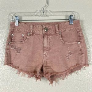 American Eagle O Pink Distressed Cut Off Shorts